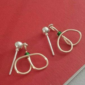 Green and wire earrings